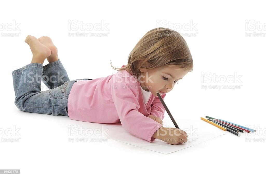 cute little girl drawing royalty-free stock photo