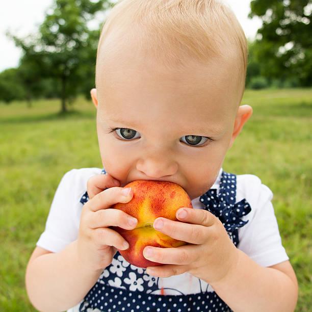 bambina carino mangiare pesca sull'erba in estate - pesche bambino foto e immagini stock