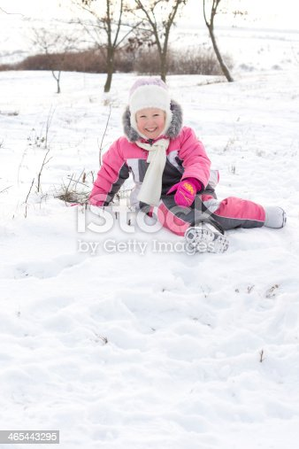 873786782istockphoto Cute little girl frolicking in snow 465443295