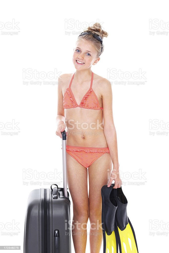 de8b0b97711 Cute Little Girl Going On Beach Vacations Stock Photo & More ...