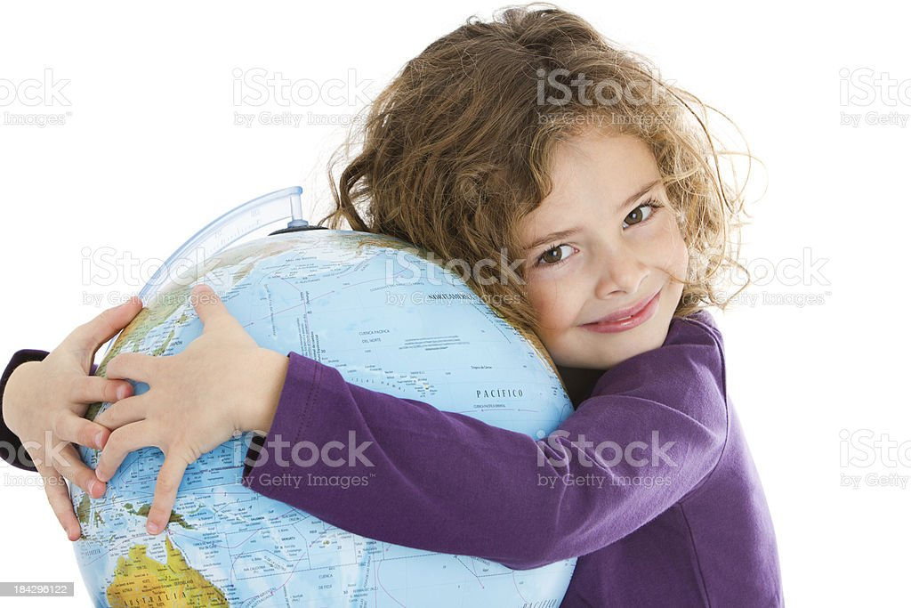 Cute little girl hugging a globe stock photo