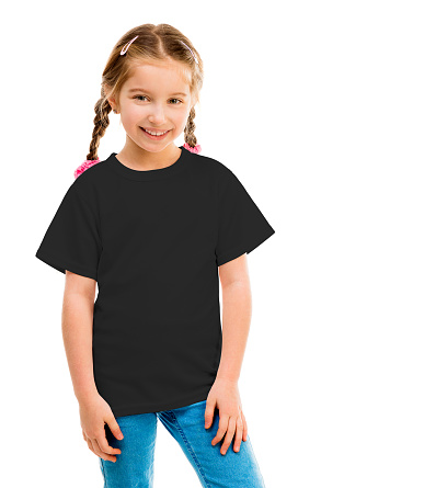 cute little girl in a black T-shirt on a white background