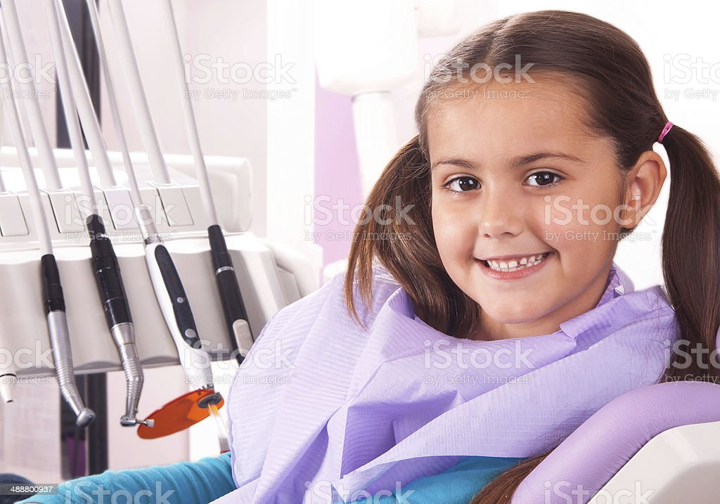 cute little girl in dental office stock photo