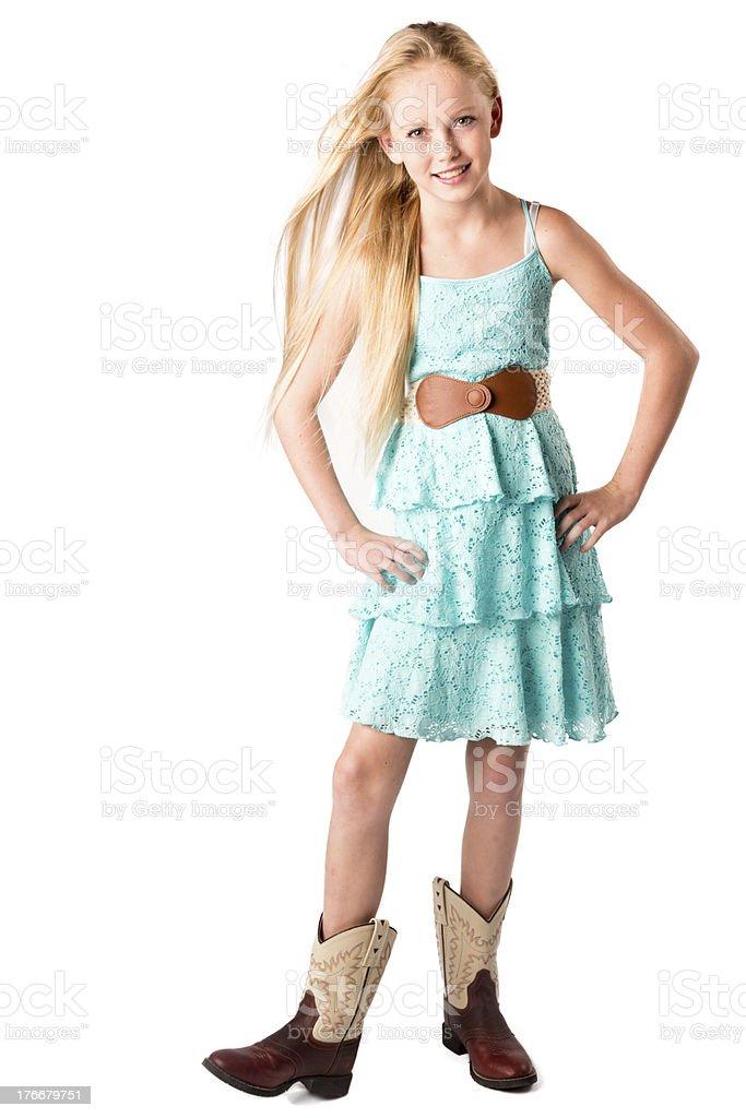 Linda niña en vestido de sol foto de stock libre de derechos