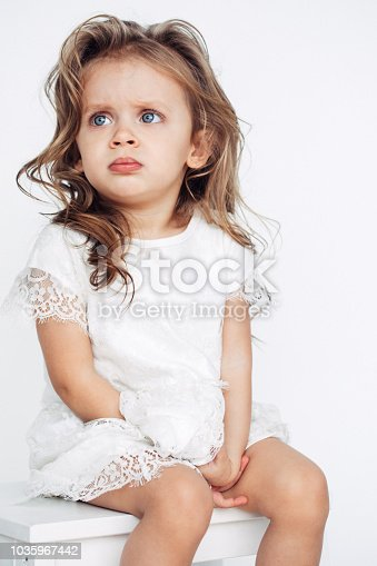 1035967418 istock photo Cute little girl in white dress smiling on camera 1035967442