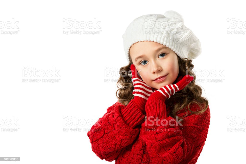 5ab260300 Cute Little Girl In Winter Clothes On Isolated White Background ...