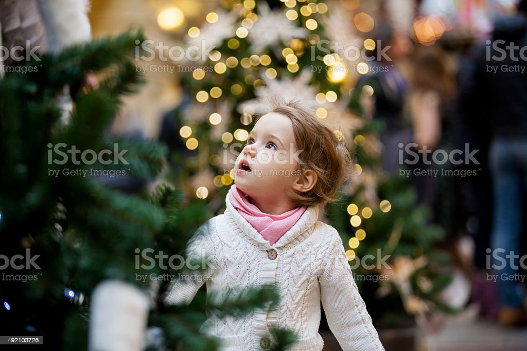 Cute little girl looking at the christmas trees stock photo
