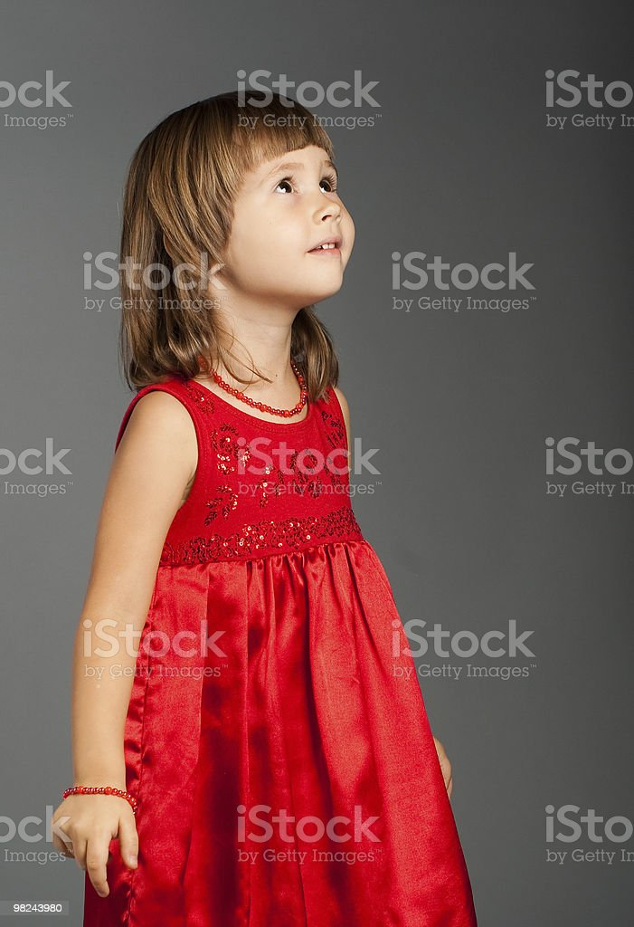 Cute little girl looking up royalty-free stock photo