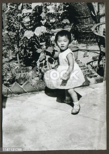 Cute little girl monochrome old photo