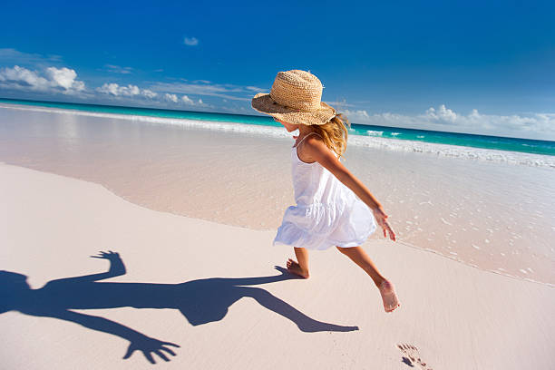 Cute little girl on vacation stock photo