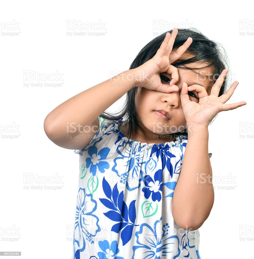 Cute Little Girl On White stock photo