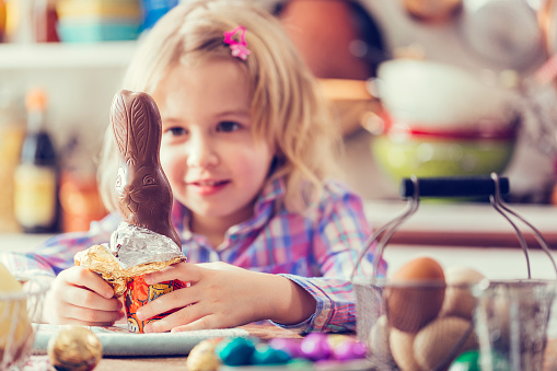 Cute little girl opening chocolate easter bunny and looking forward to it