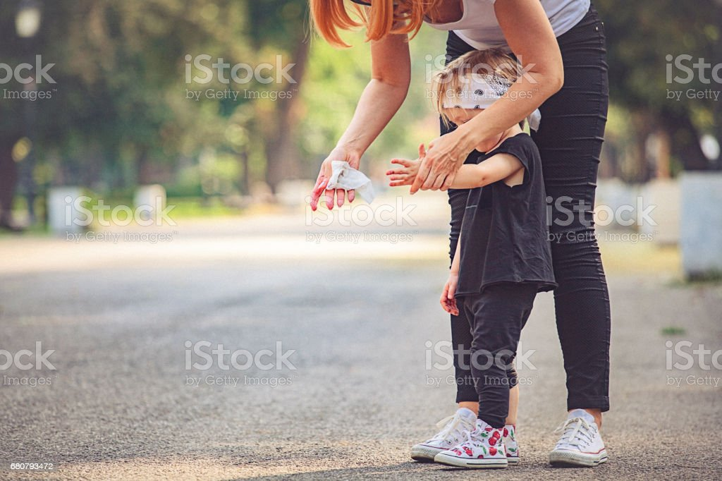 Cute little girl play in the park. stock photo
