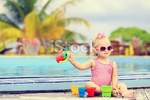 istock cute little girl playing in swimming pool at beach 521418178