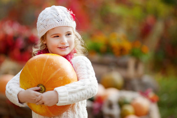 Cute little girl playing with pumpkins in autumn park. Autumn activities for children. Halloween and Thanksgiving time fun for family. stock photo