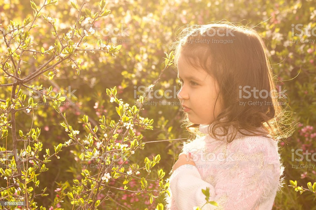 Cute little girl posing with spring flowers photo libre de droits