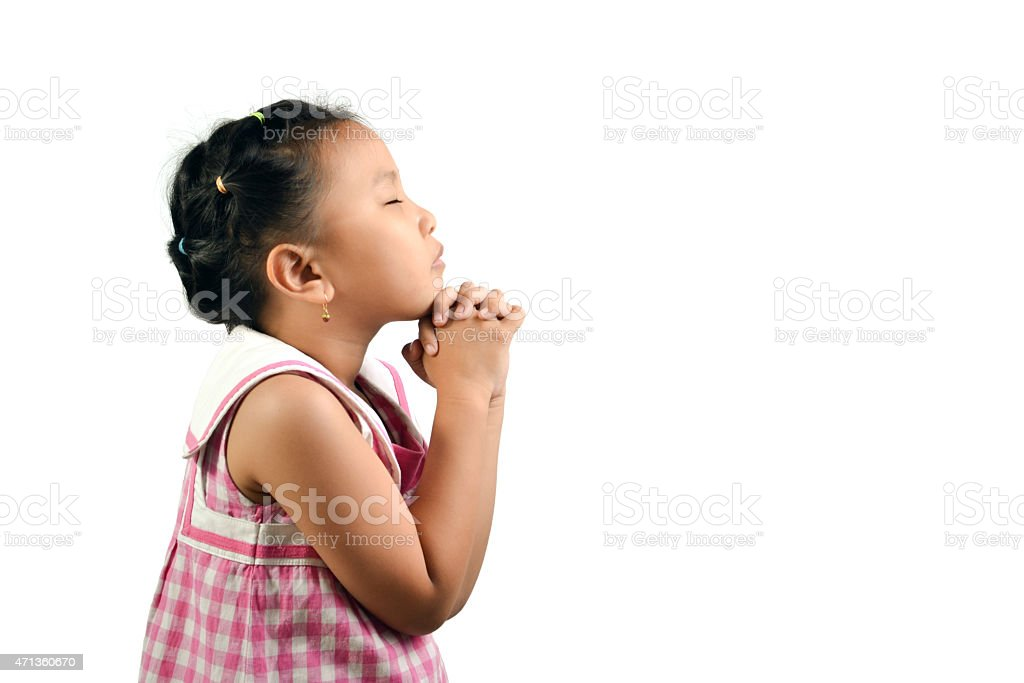 Cute Little Girl Praying stock photo