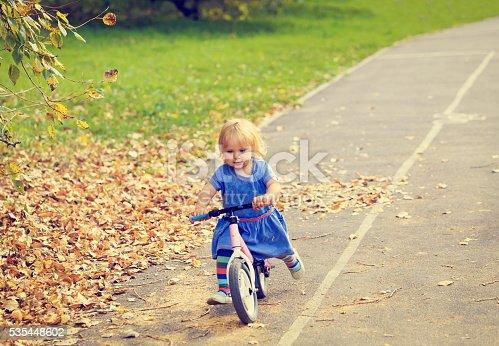 istock cute little girl riding runbike in autumn 535448602