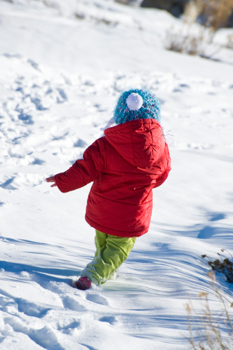 Cute Little Girl Running And Playing Stock Photo - Download Image Now