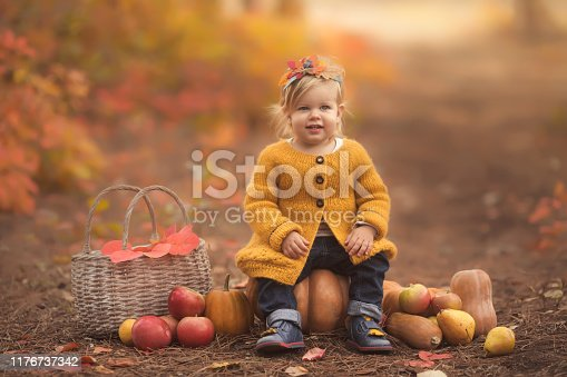 istock Cute little girl sitting on pumpkin and playing in autumn forest 1176737342
