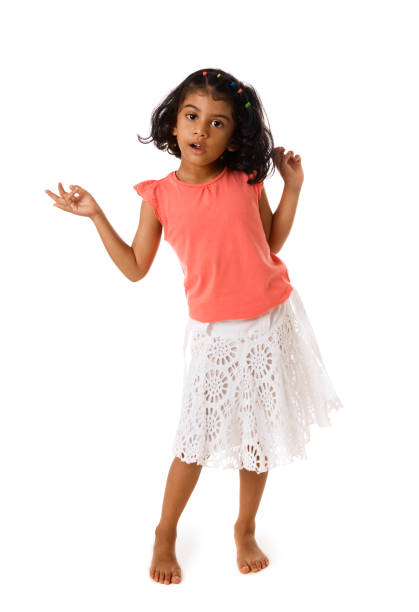 f4d2f833c8c Cute little girl standing barefoot.Isolated stock photo