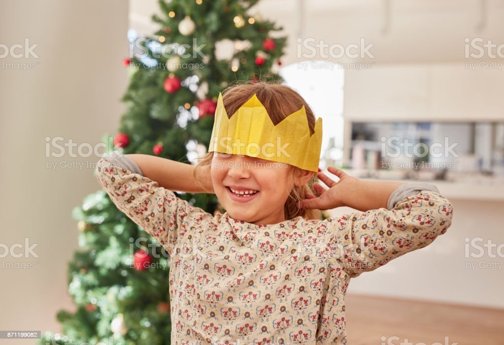 d6dba73682c8 Caucasian Ethnicity, Christmas, Christmas Decoration, Crown - Headwear,  Holiday - Event. Cute little girl wearing crown royalty-free stock photo