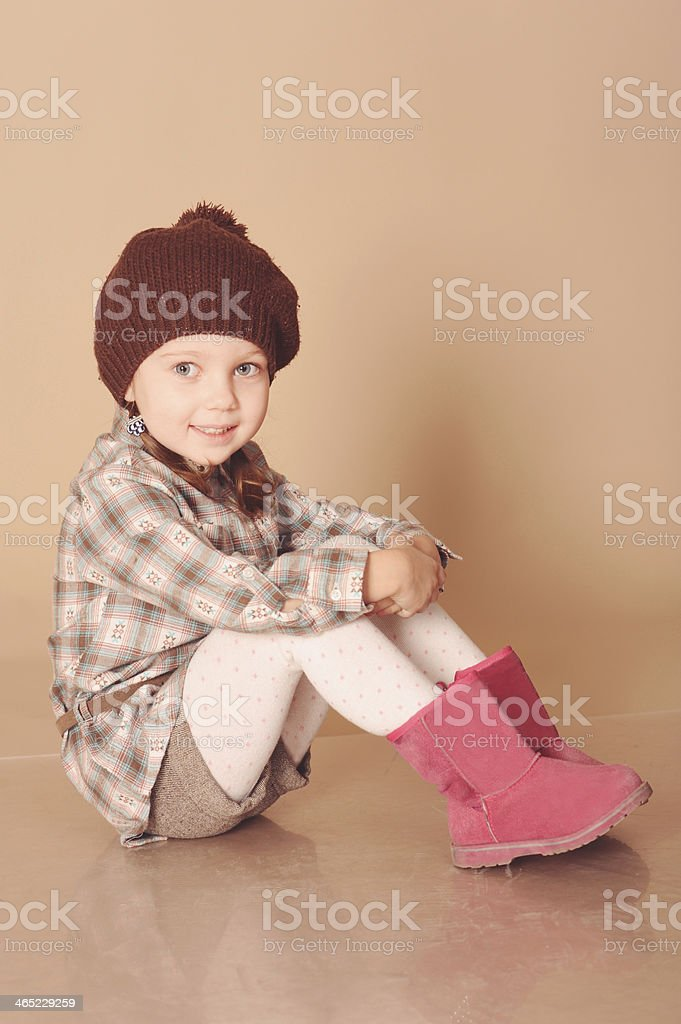 124fd5d6428c Cute Little Girl Wearing Winter Clothes Stock Photo   More Pictures ...