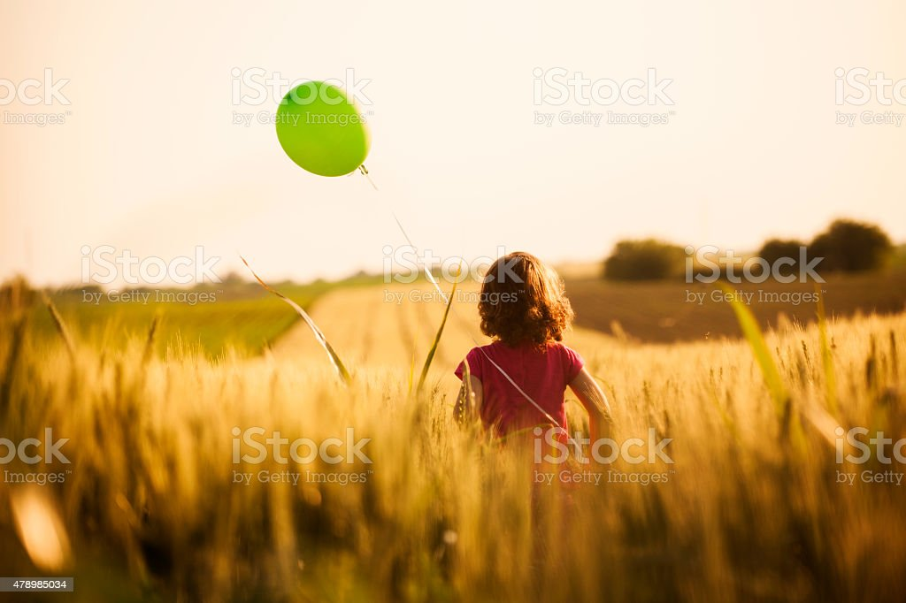 Cute little girl with balloons at field stock photo