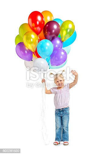 istock Cute little girl with balloons 502281532
