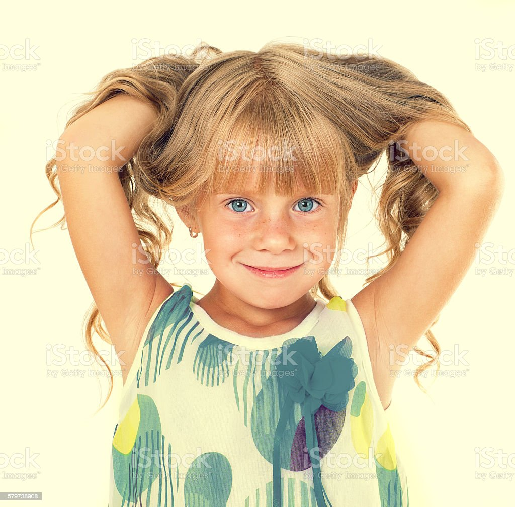 Cute Little Girl With Blond Long Hair Stock Photo More Pictures Of