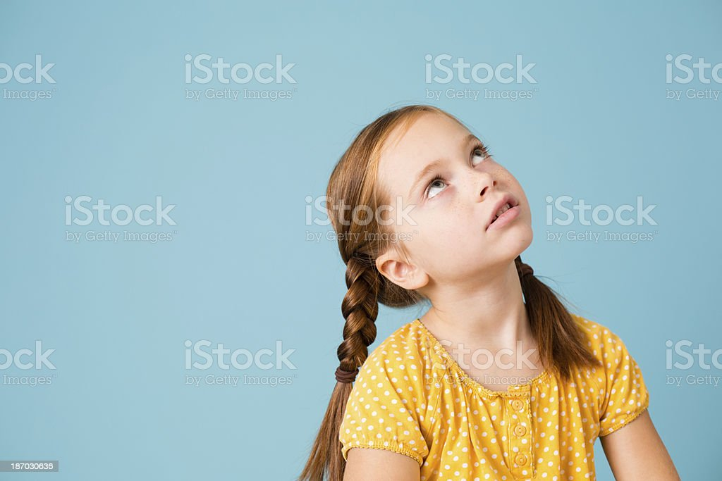 Cute Little Girl With Braided Red Hair, Includes Copy Space royalty-free stock photo