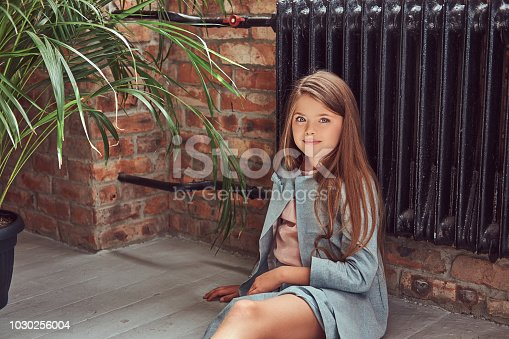 678651100 istock photo Cute little girl with long brown hair wearing a stylish dress, sitting on a wooden floor in a room with a loft interior 1030256004