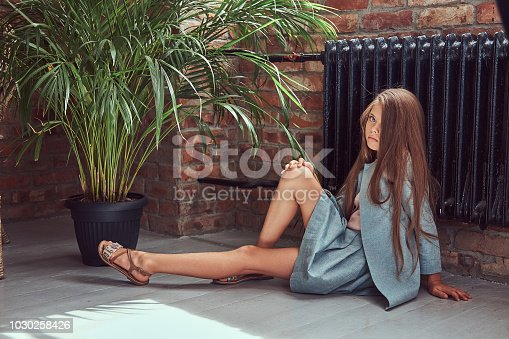 678651100 istock photo Cute little girl with long brown hair wearing a stylish dress, sitting on a wooden floor in a room with a loft interior 1030258426