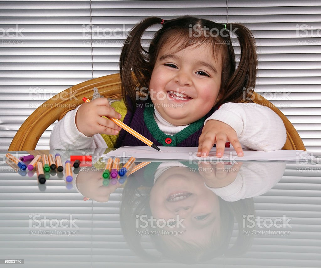 cute little girl with pens royalty-free stock photo