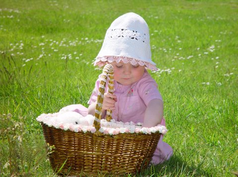 Cute Little Girl With Teddy Bear In Basket Stock Photo - Download Image Now