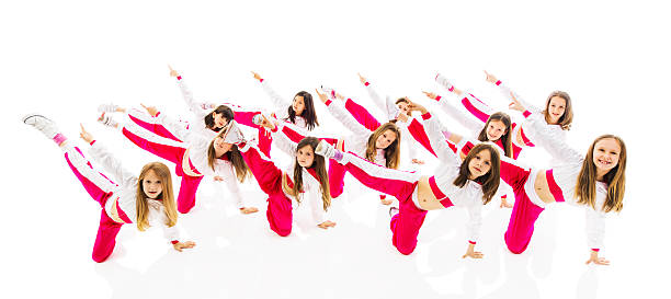 cute little girls dancing. - dance group stock photos and pictures