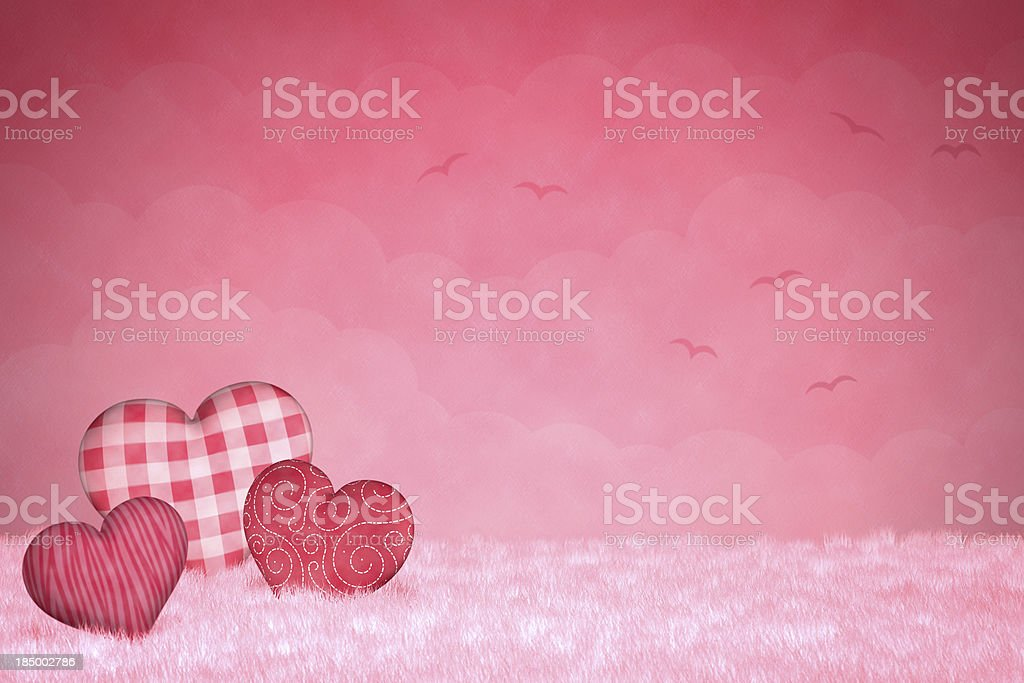 Cute little hearts on a pink background royalty-free stock photo