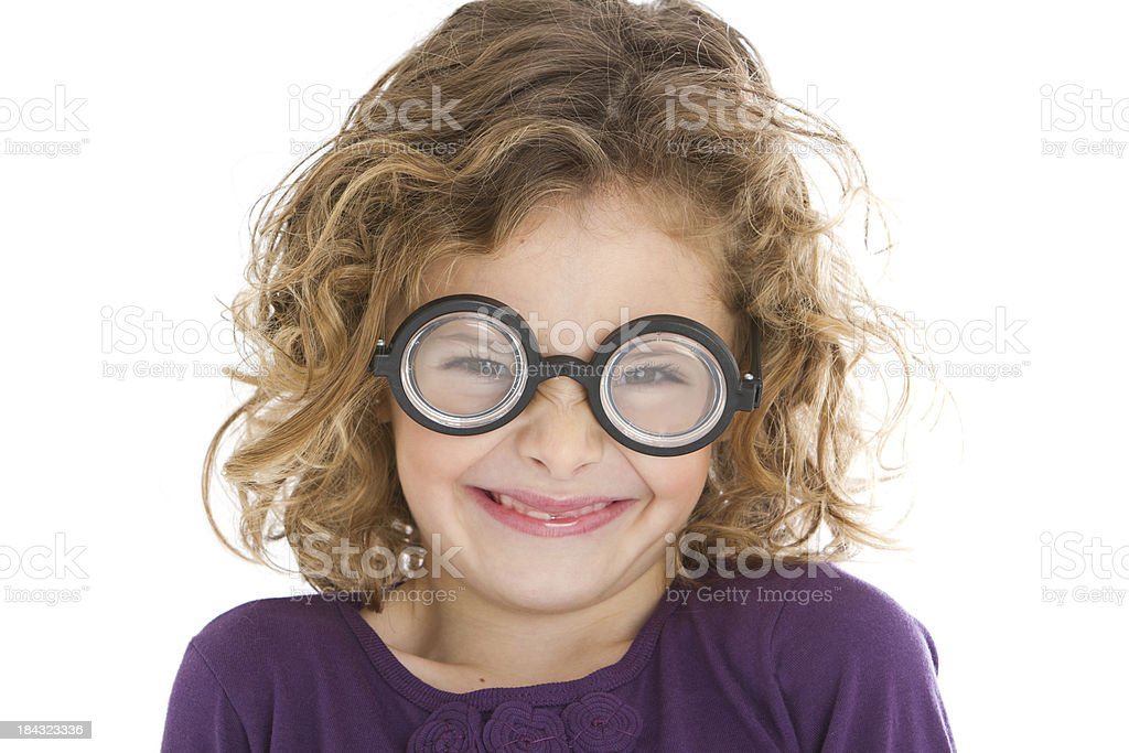 Cute little nerd frowning royalty-free stock photo