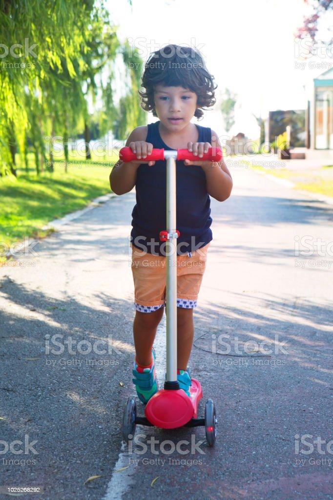 Cute Little Preschool Kid Boy Riding On Scooter In Public Park Stock