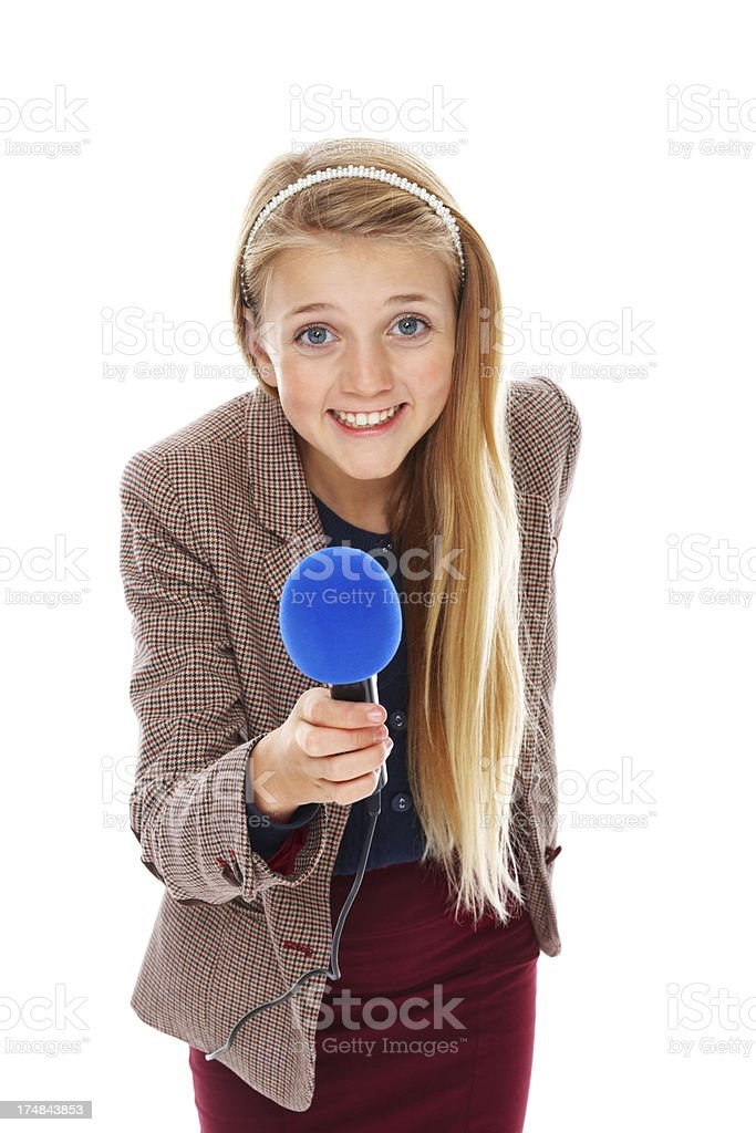 Cute little reporter on white royalty-free stock photo