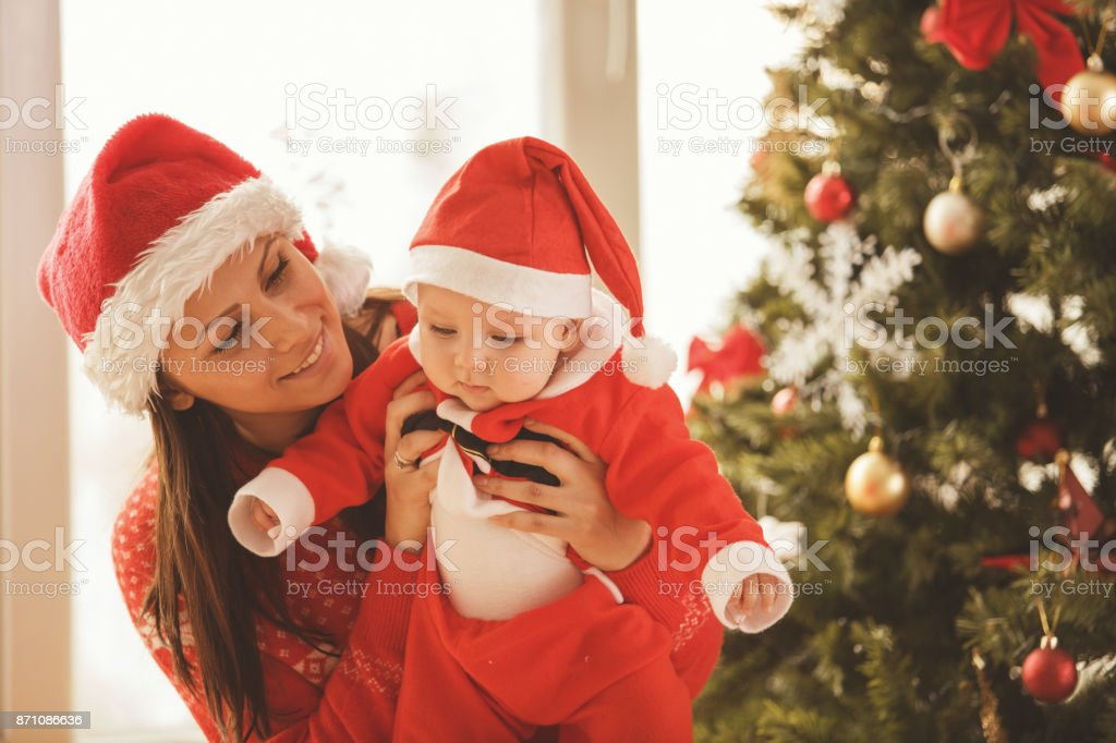 Cute little Santa stock photo