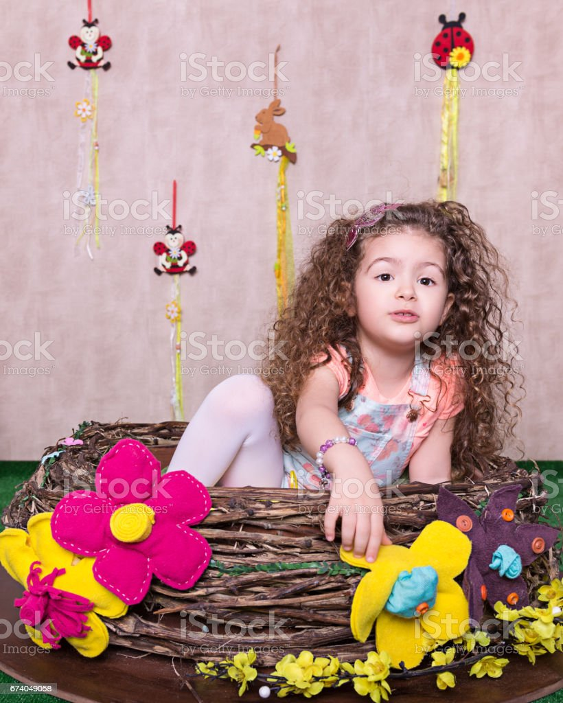 Cute little sweet girl in a Easter decoration at Home royalty-free stock photo