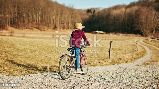 istock Cute little ten year old girl riding bicycle on countryside. 1139849213