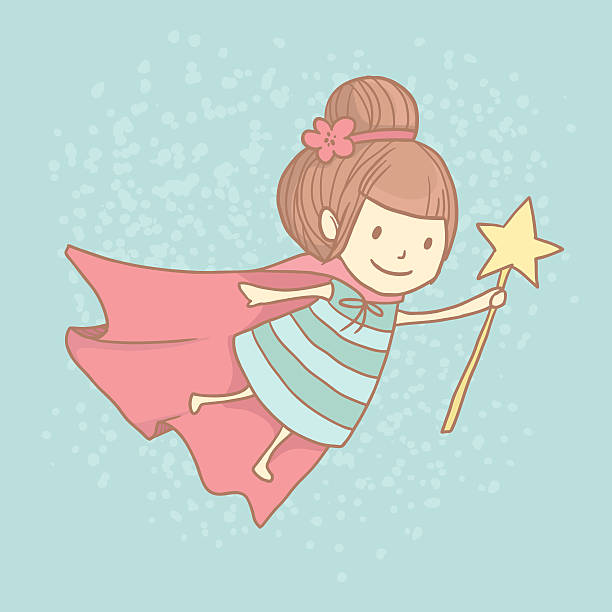 Cute little tooth fairy with wand stock photo
