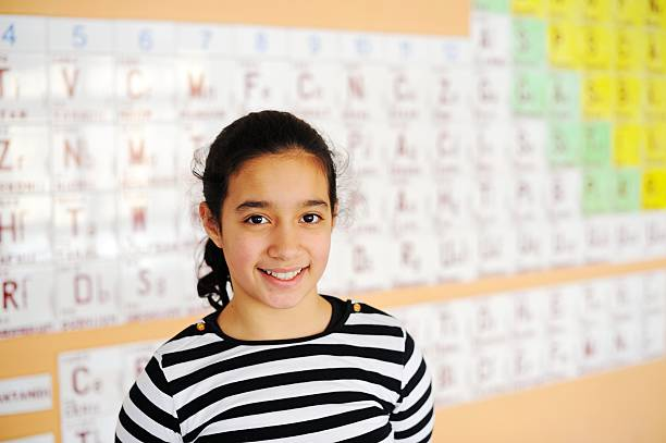 cute lovely school children at class with periodic table - arabic girl stock photos and pictures