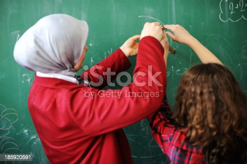 157687202 istock photo Cute lovely school children at classroom having education activi 185920591