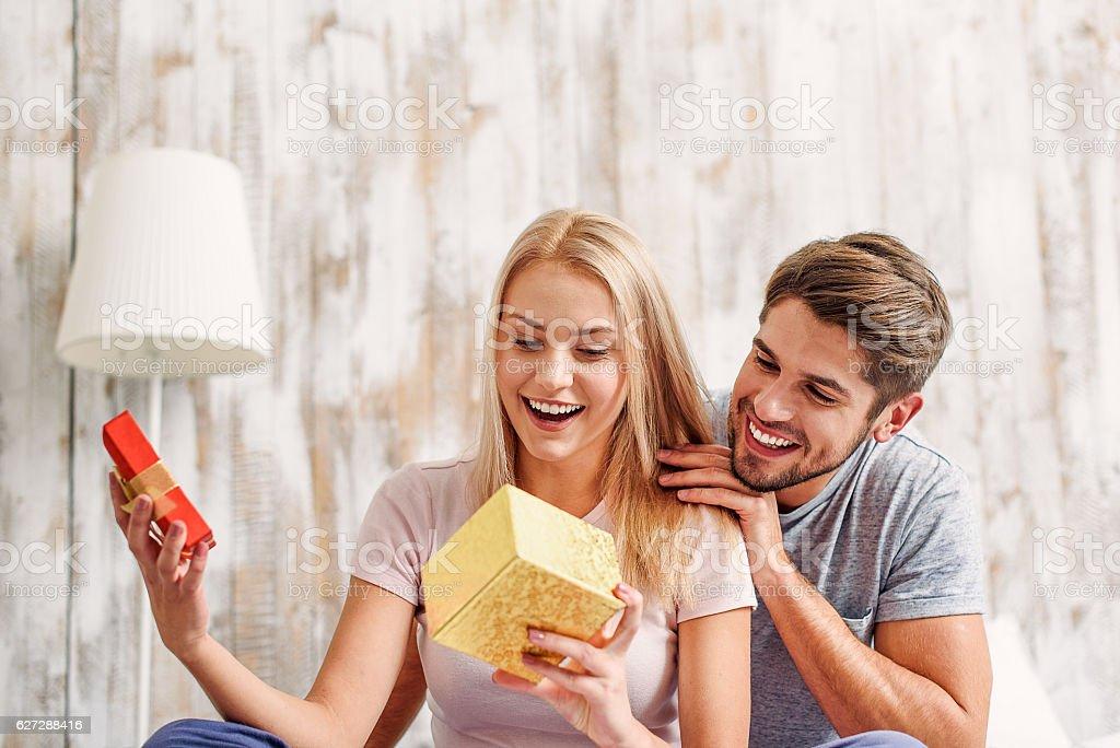 Cute loving couple celebrating anniversary stock photo