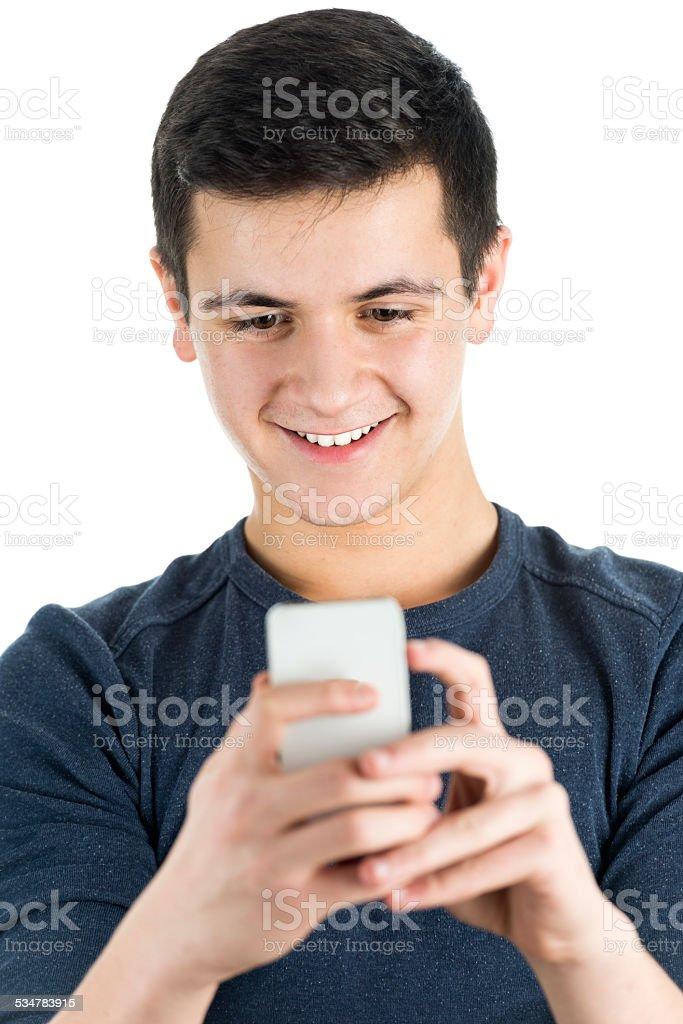 Cute Male Teen on Phone stock photo
