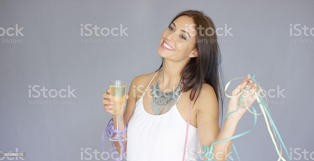 Cute merry young woman partying at New Year foto royalty-free