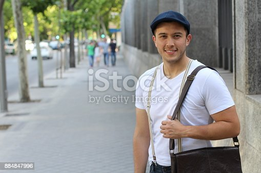 868483314 istock photo Cute mixed race person male smiling isolated 884847996